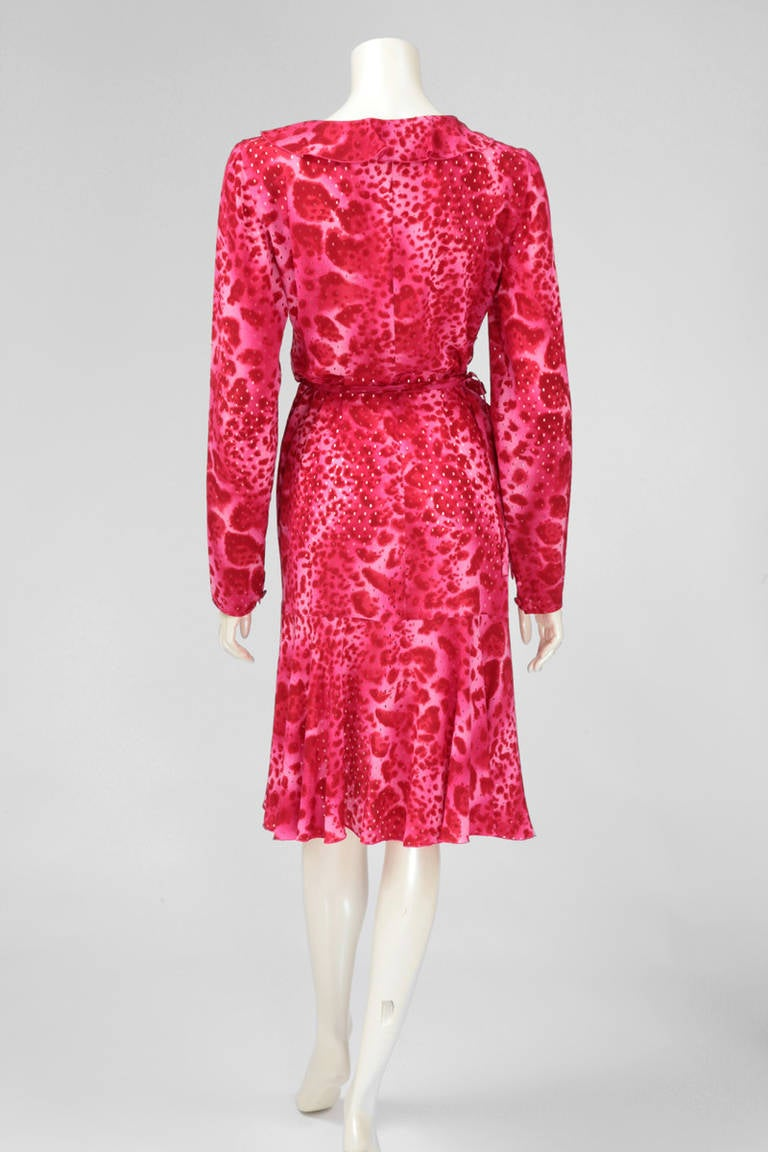 Emanuel Ungaro Silk Leopard Print Wrap Dress 7