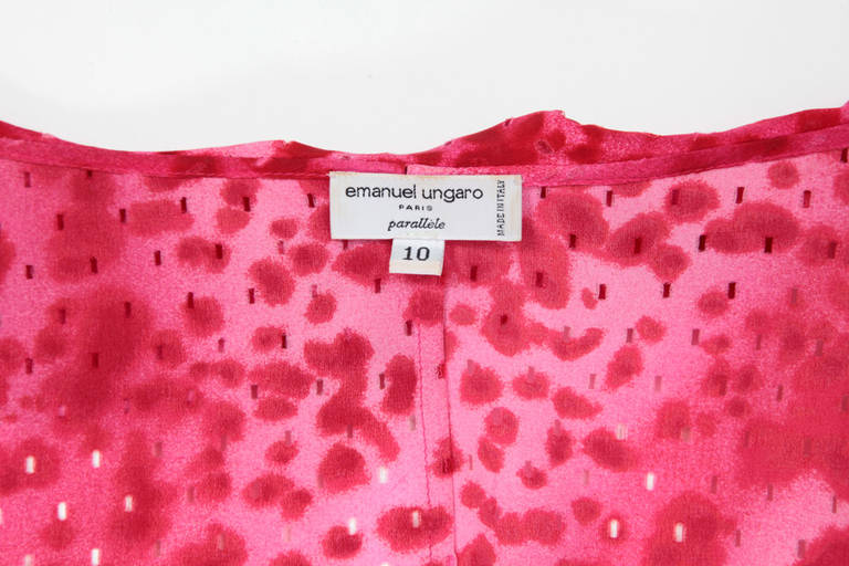 Emanuel Ungaro Silk Leopard Print Wrap Dress 8