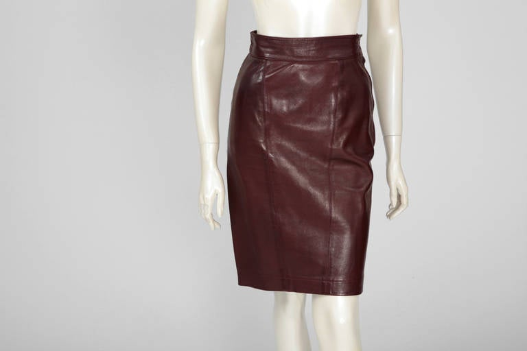 Women's Alaia Leather Skirt Suit For Sale