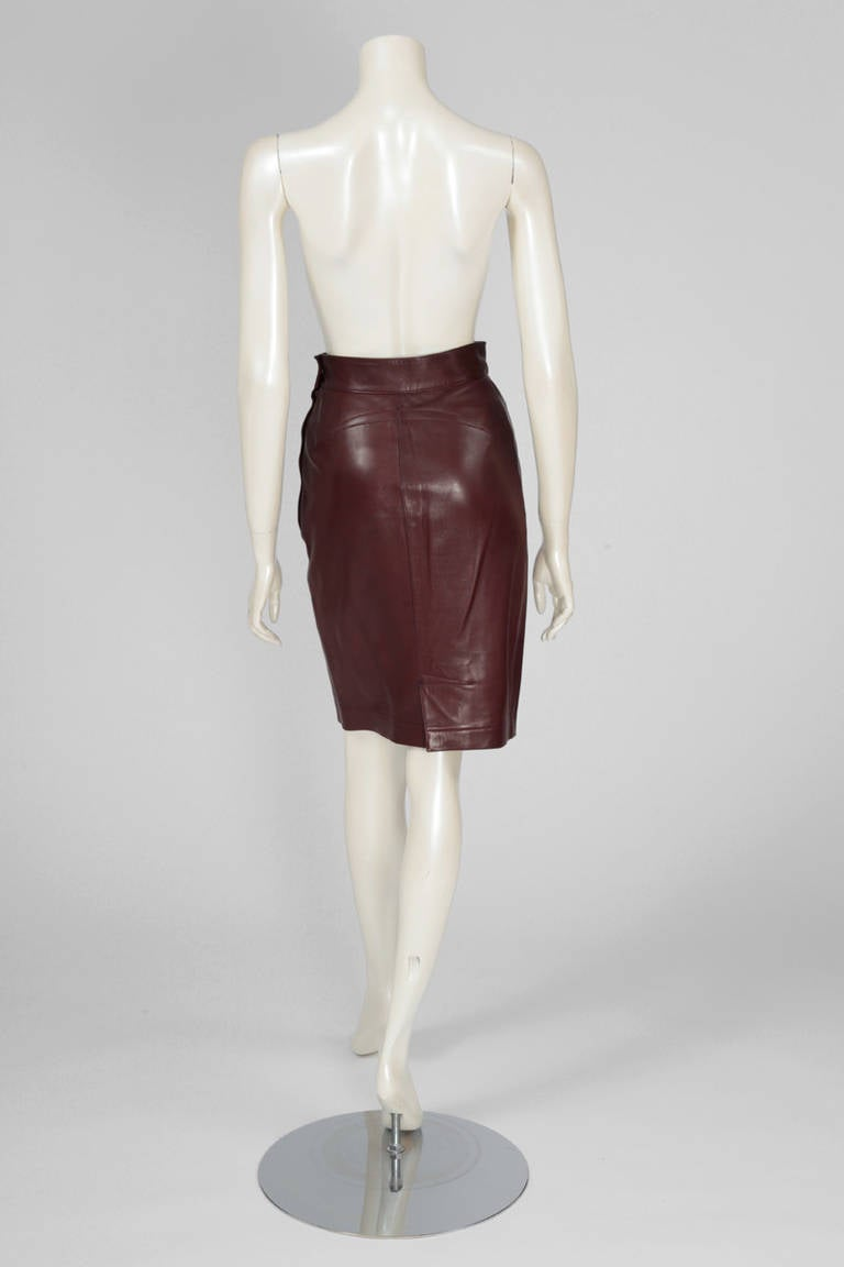 Alaia Leather Skirt Suit For Sale 2