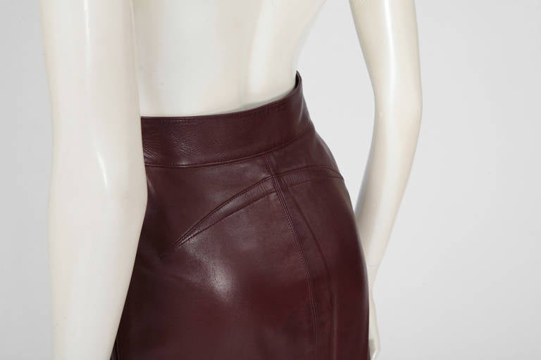 Alaia Leather Skirt Suit For Sale 3