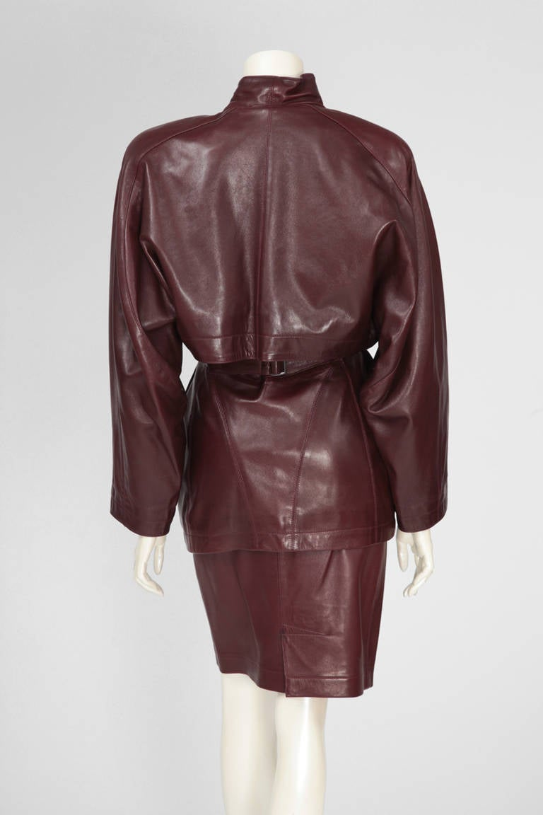 Black Alaia Leather Skirt Suit For Sale