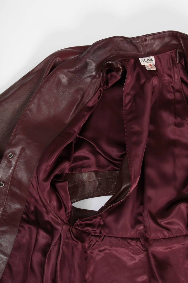 Alaia Leather Skirt Suit For Sale 4