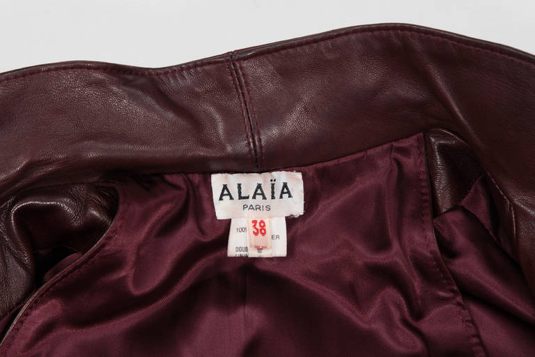 Alaia Leather Skirt Suit For Sale 5