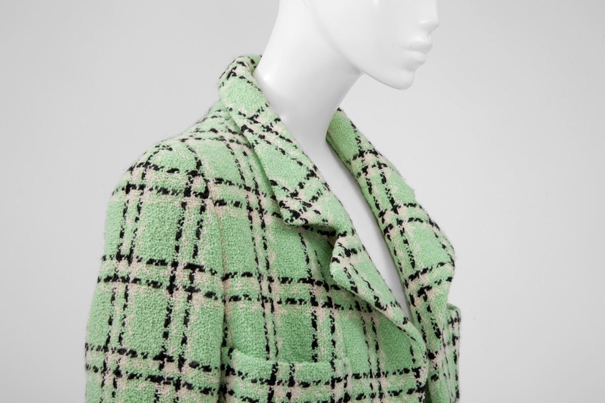 Green Chanel Tweed Long Jacket, Spring-Summer 1994 For Sale