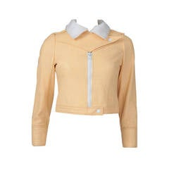 Courreges Vinyl Cropped Bomber Jacket