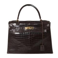 Hermes Porosus Crocodile 32 cm Kelly Handbag