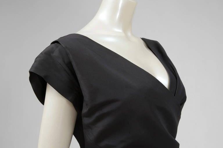 Black 50's Christian Dior Boutique Taffeta Dress 03510 For Sale