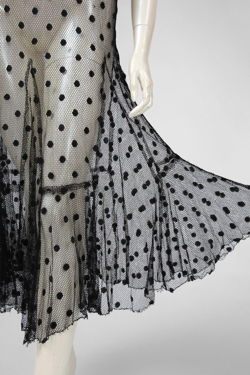 1930's Sheer Mesh Polka Dot Dress 4