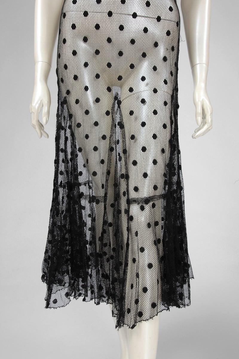 1930's Sheer Mesh Polka Dot Dress 3