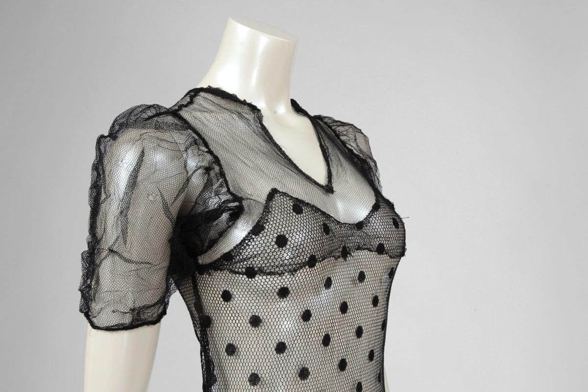 1930's Sheer Mesh Polka Dot Dress 6