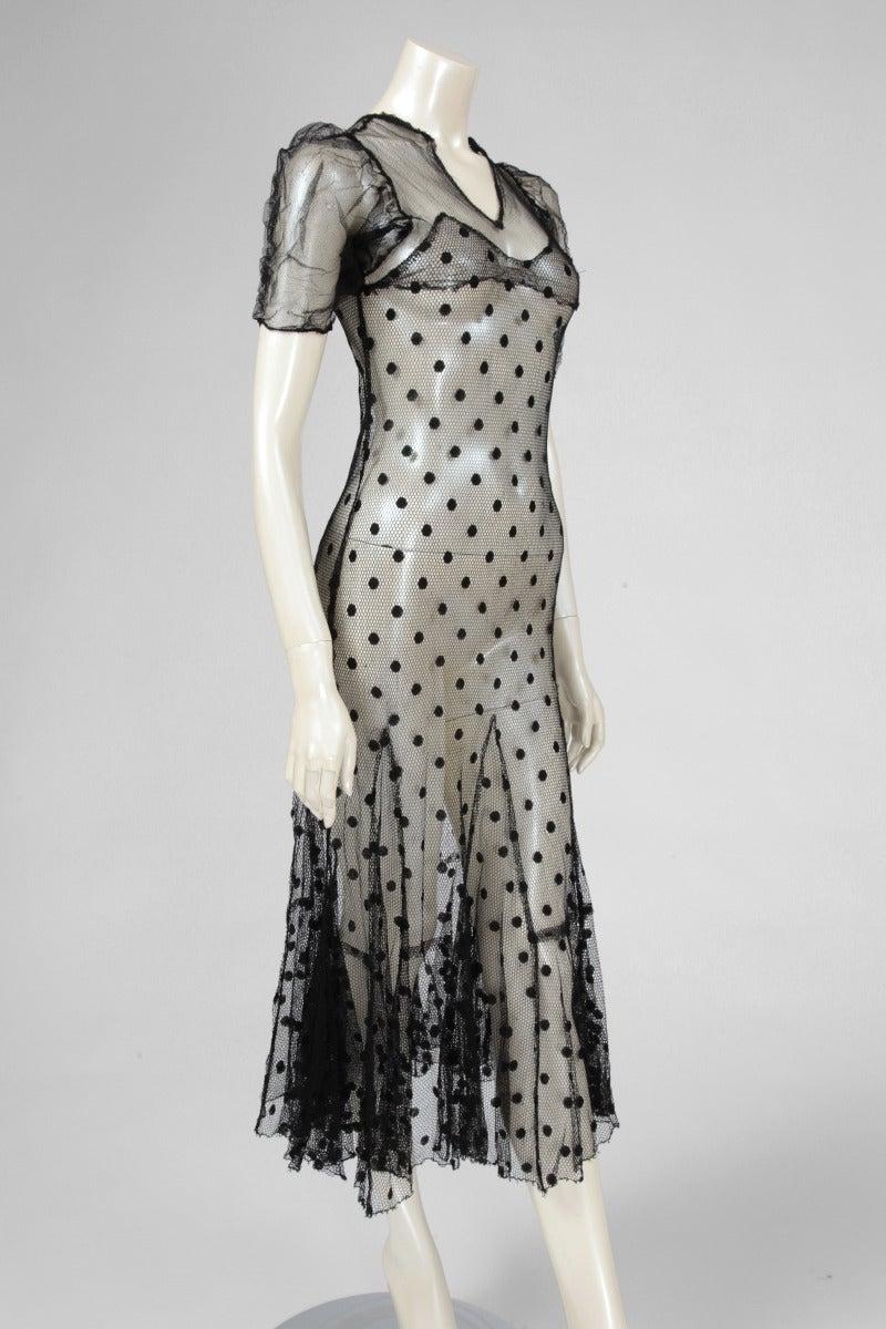 1930's Sheer Mesh Polka Dot Dress 5