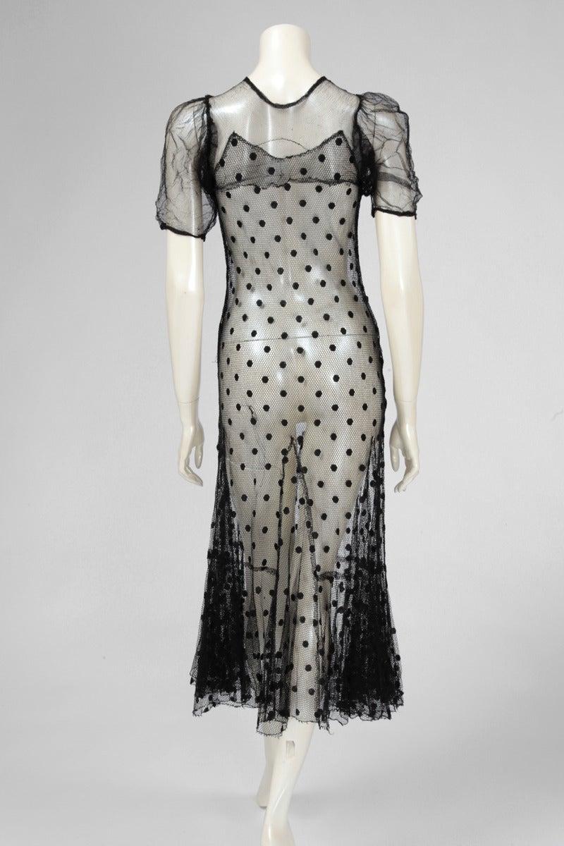 1930's Sheer Mesh Polka Dot Dress 7