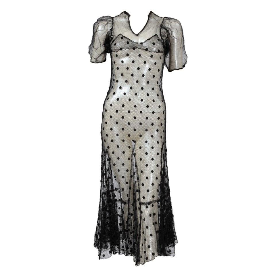 1930's Sheer Mesh Polka Dot Dress 1