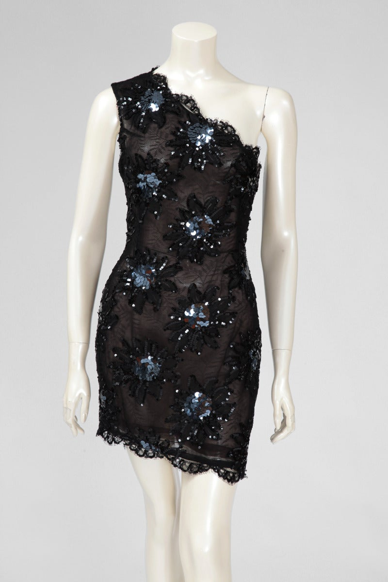 Yves Saint Laurent Asymmetrical Lace & Sequin Party Dress 2