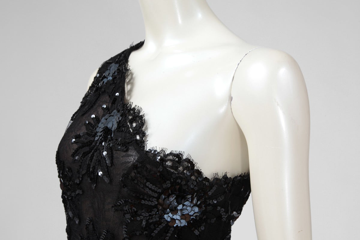 Yves Saint Laurent Asymmetrical Lace & Sequin Party Dress 5