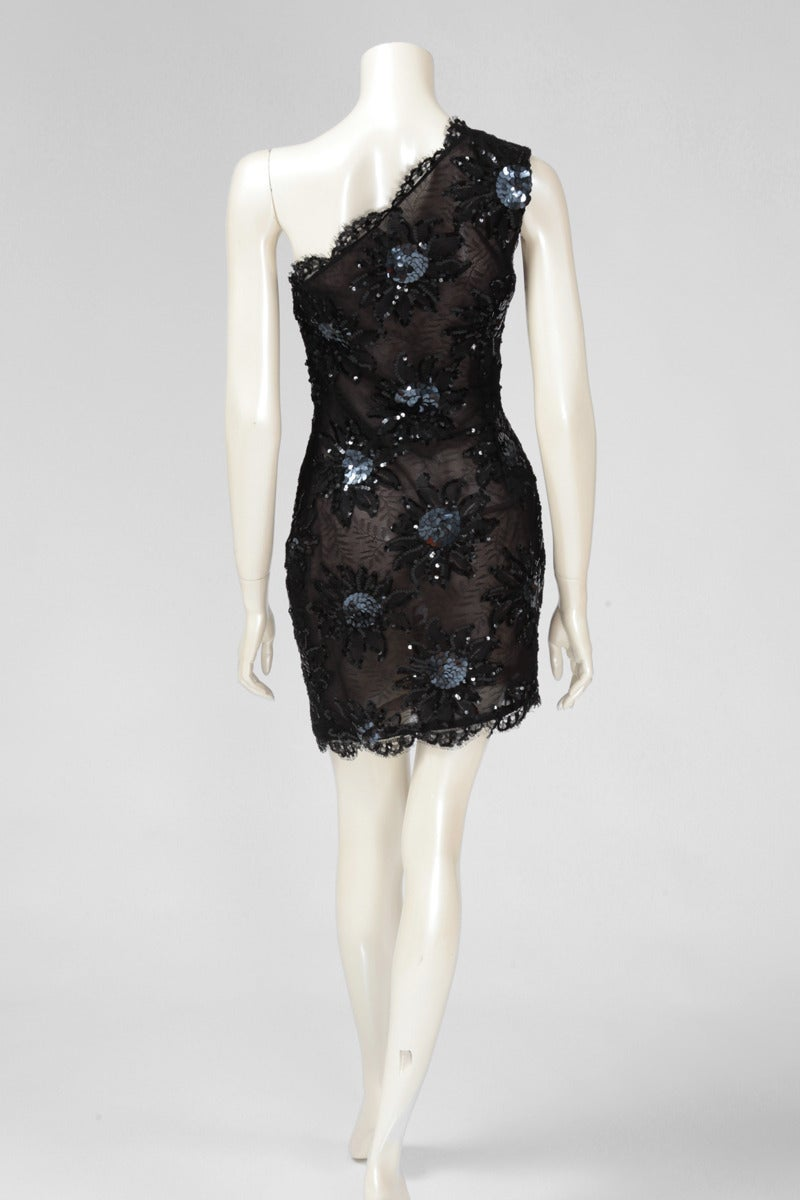 Yves Saint Laurent Asymmetrical Lace & Sequin Party Dress 6