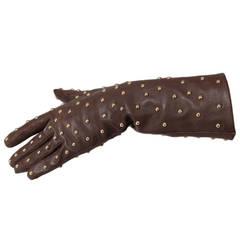 Yves Saint Laurent Studded Leather Gloves
