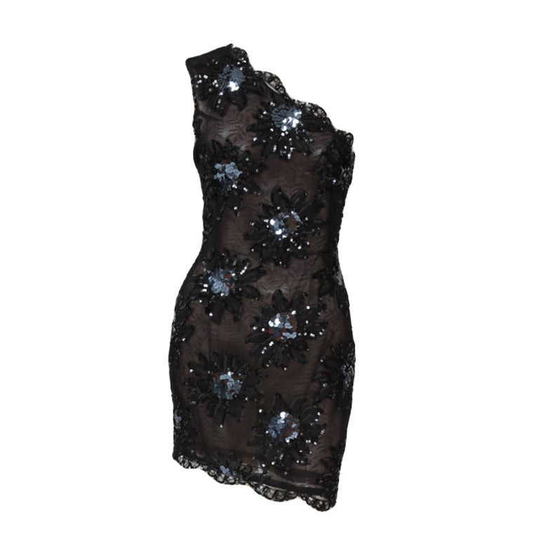 Yves Saint Laurent Asymmetrical Lace & Sequin Party Dress 1