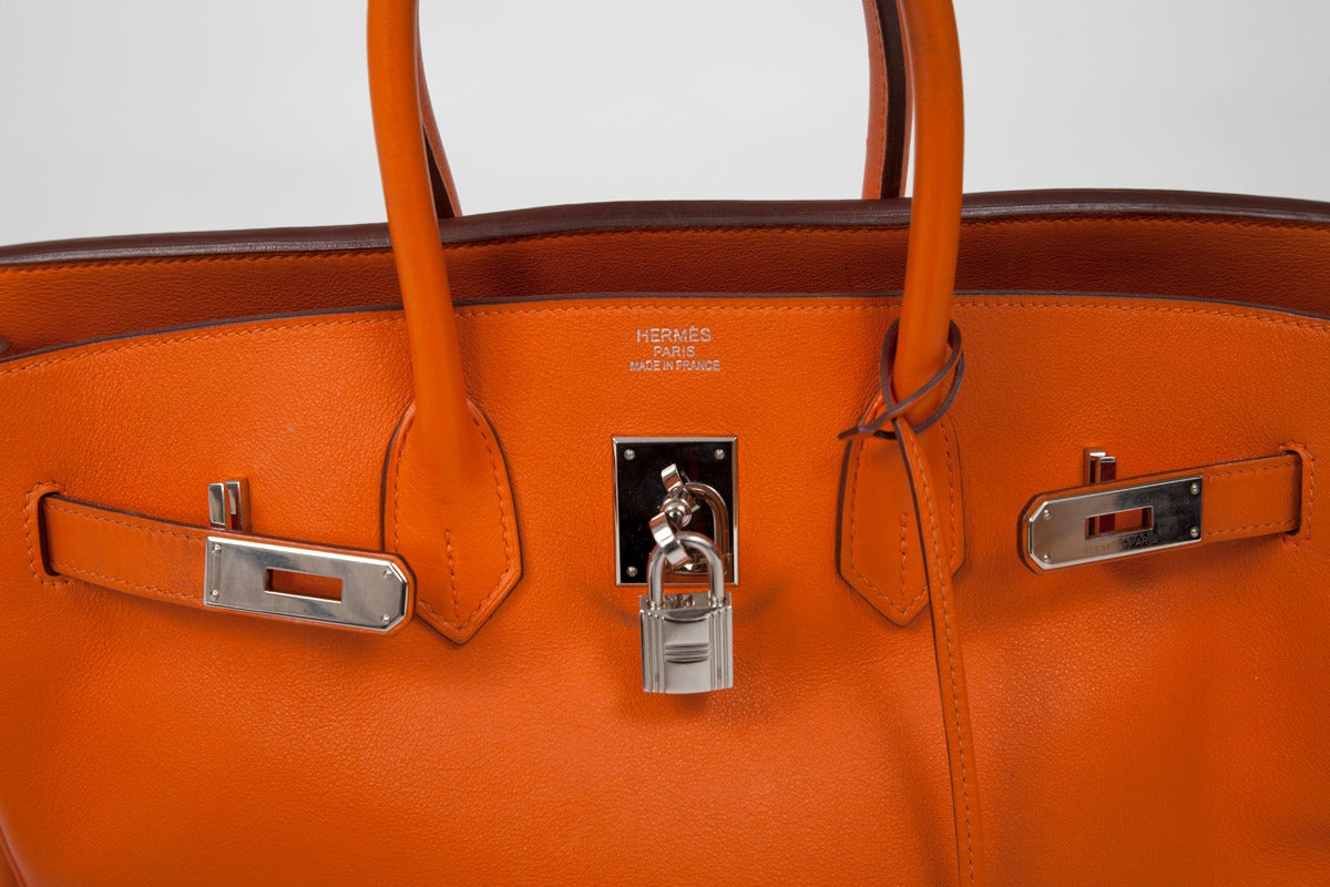 bags that look like hermes birkin - Hermes Orange Swift Leather 35 cm Birkin Handbag at 1stdibs