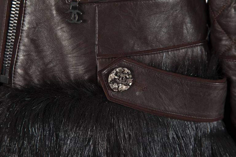 Black Chanel Runway Leather & Faux Fur Biker Coat, Fall-Winter 2010-2011 For Sale