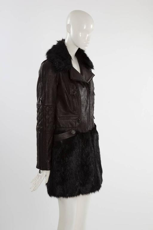 Chanel Runway Leather & Faux Fur Biker Coat, Fall-Winter 2010-2011 In Excellent Condition For Sale In Geneva, CH