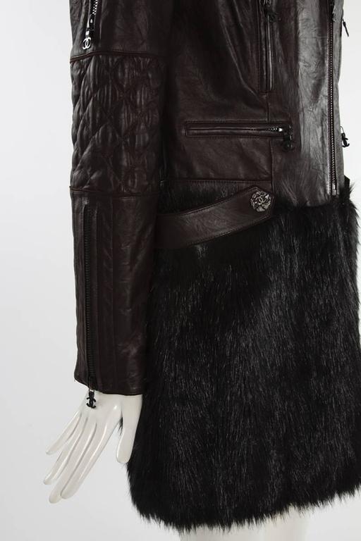 Women's Chanel Runway Leather & Faux Fur Biker Coat, Fall-Winter 2010-2011 For Sale