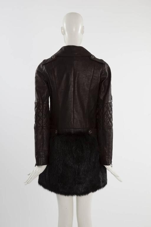 Chanel Runway Leather & Faux Fur Biker Coat, Fall-Winter 2010-2011 For Sale 2