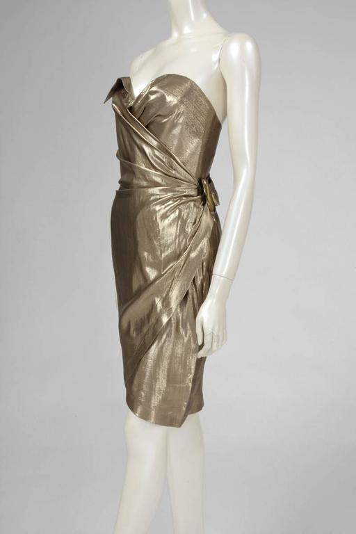 Thierry Mugler Lamé Cocktail Dress In Excellent Condition For Sale In Geneva, CH