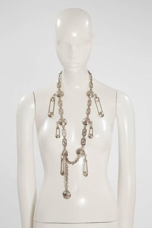 Women's Gianni Versace Medusa & Safety Pin Link Chain Belt  For Sale