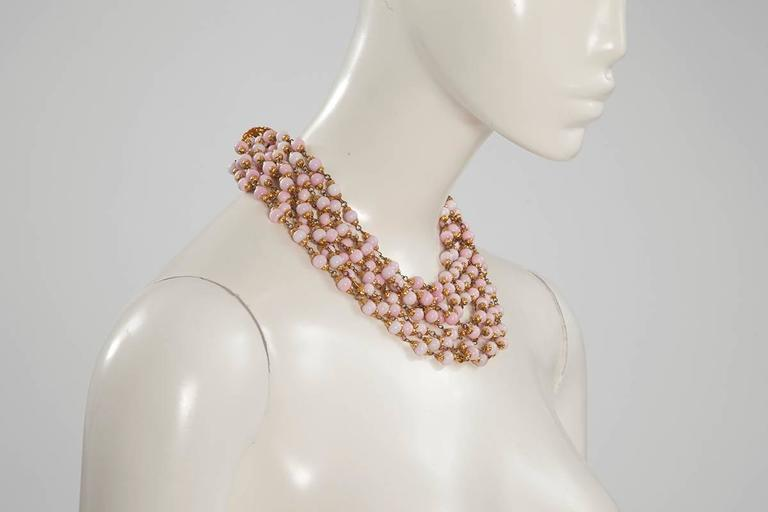 Contemporary 1993 Chanel Angel's Skin Coral Multi-Strand Necklace For Sale