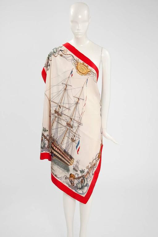 Beige 1959 Hermes L'Ocean Silk Twill Carré Scarf For Sale