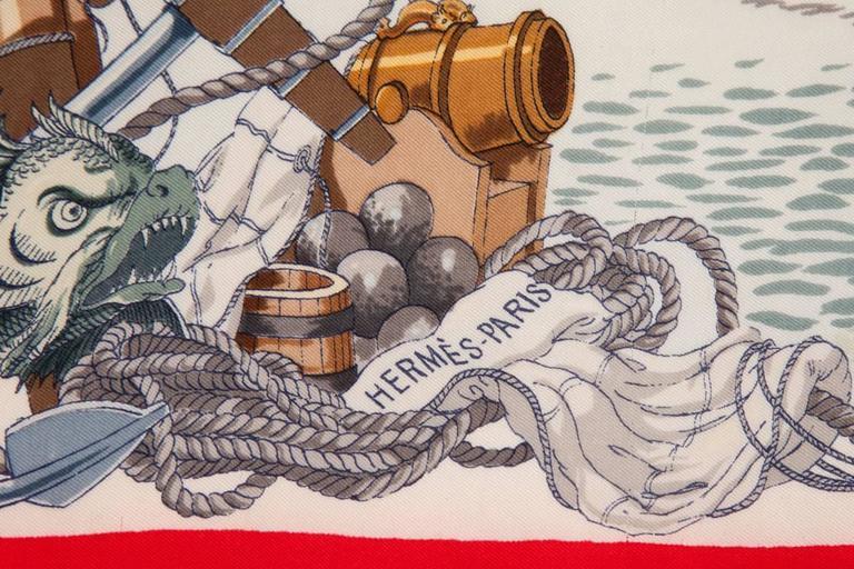 1959 Hermes L'Ocean Silk Twill Carré Scarf For Sale 2