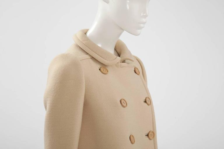 Beige Courreges Haute Couture Wool Coat, Circa 1965  For Sale