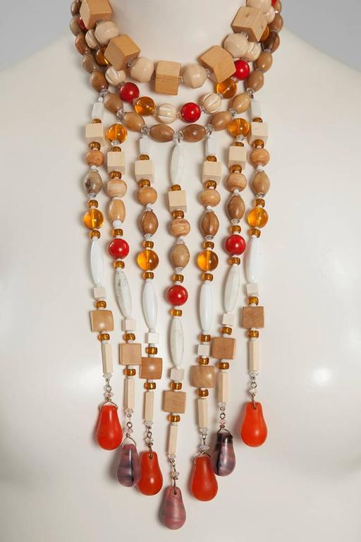 Artisan Yves Saint Laurent African Inspired Multi-Strand Necklace  For Sale