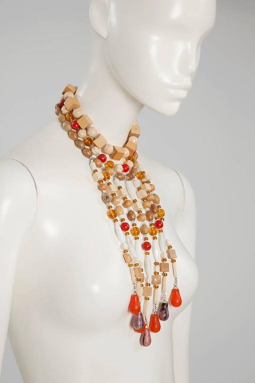 Yves Saint Laurent African Inspired Multi-Strand Necklace  In Excellent Condition For Sale In Geneva, CH