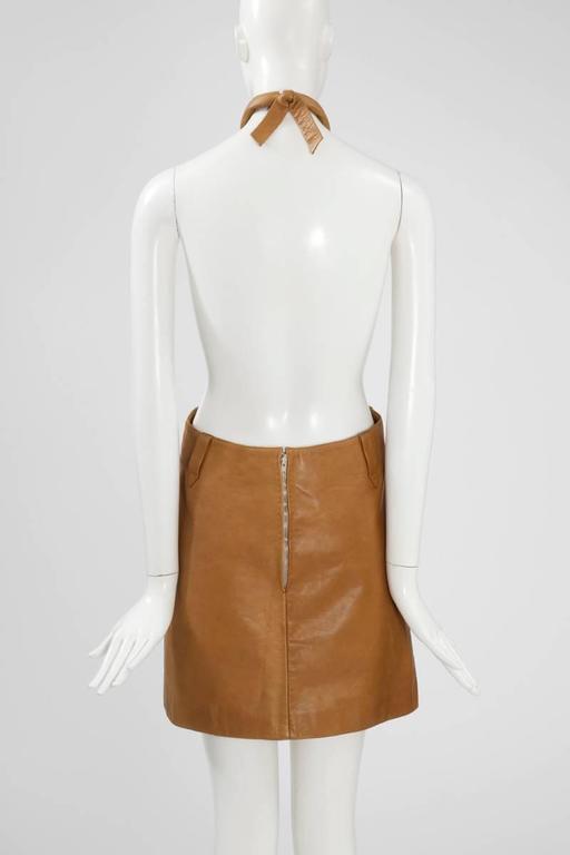 Women's Pierre Cardin Space Age Leather Mini Dress For Sale