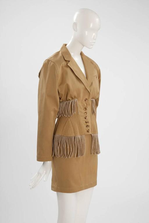 Brown Iconic Alaïa Cord Skirt Suit   For Sale