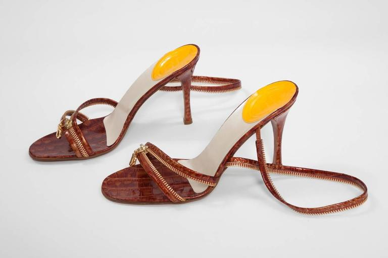Brown Christian Dior by John Galliano New Leather Zipped Sandals For Sale