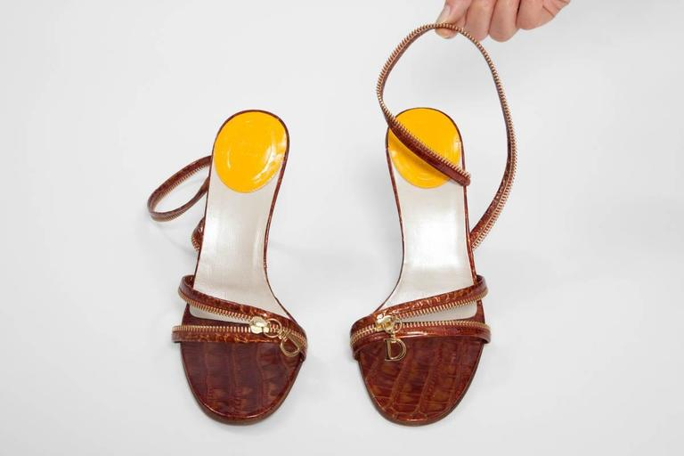 Christian Dior by John Galliano New Leather Zipped Sandals In New Condition For Sale In Geneva, CH