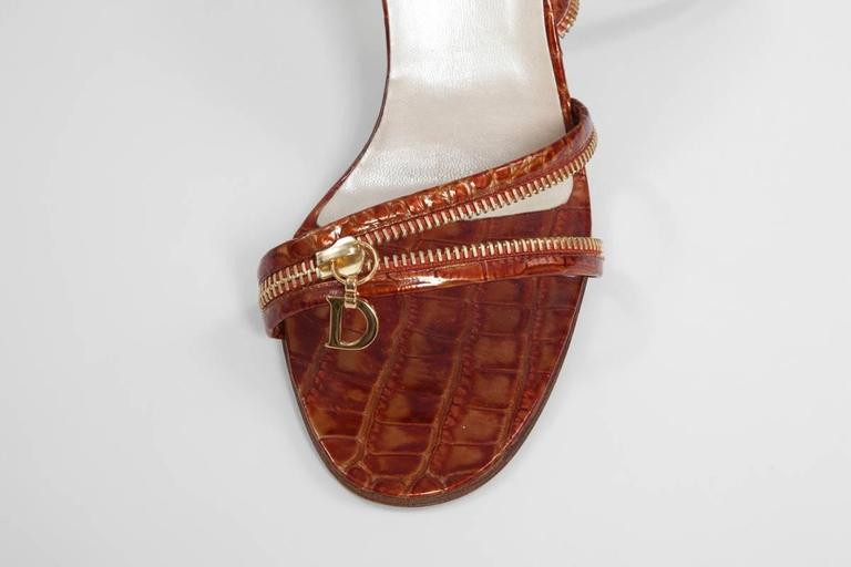 Women's Christian Dior by John Galliano New Leather Zipped Sandals For Sale