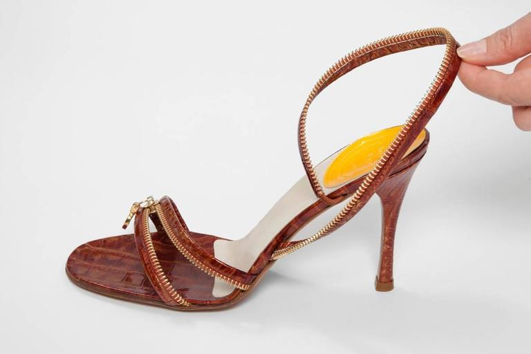 Christian Dior by John Galliano New Leather Zipped Sandals For Sale 4