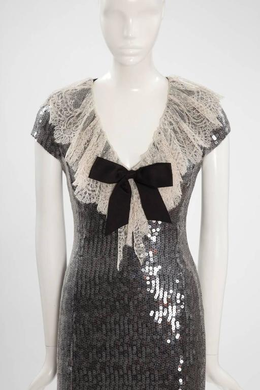 Black Chanel Sequined Mini Dress For Sale