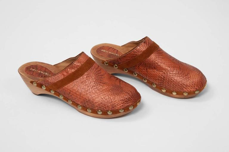 Devi Kroell Unworn Snakeskin And Suede Clogs For Sale At