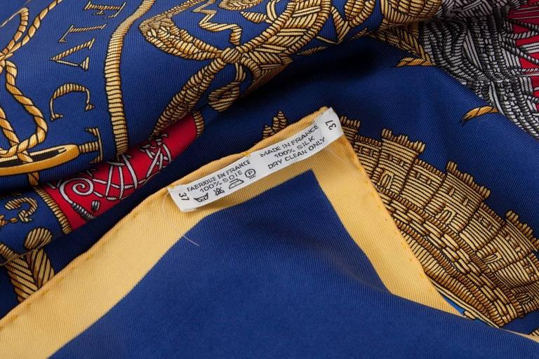 Women's or Men's Rare Hermes Les Armes De Paris Silk Twill Carre Scarf   For Sale