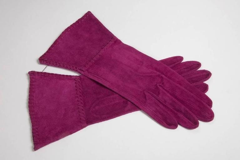 Yves Saint Laurent New Suede Gauntlet Gloves  2