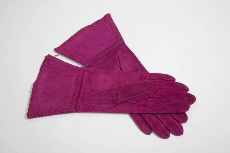 Yves Saint Laurent New Suede Gauntlet Gloves  3