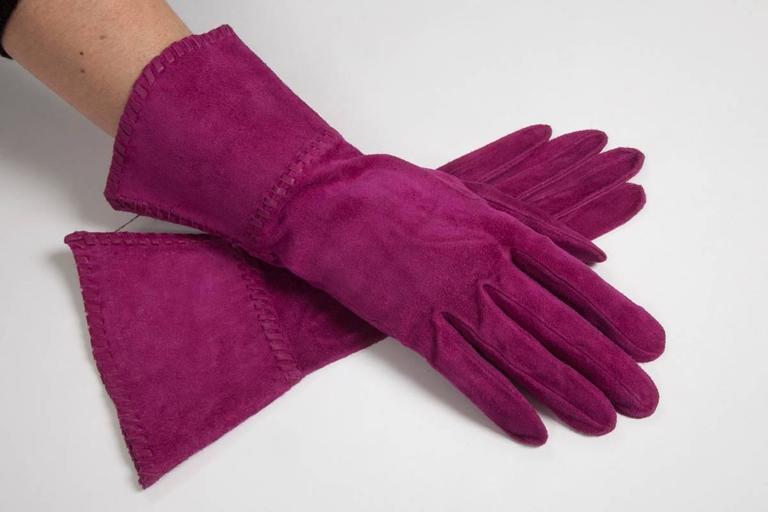 Yves Saint Laurent New Suede Gauntlet Gloves  4