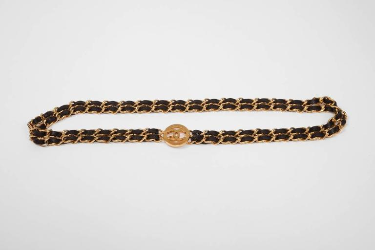 Brown Chanel Goldtone & Leather Chain Belt  For Sale