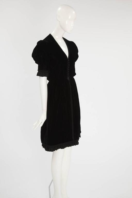 Black Jean Patou Velvet Dress, Circa 1968  For Sale